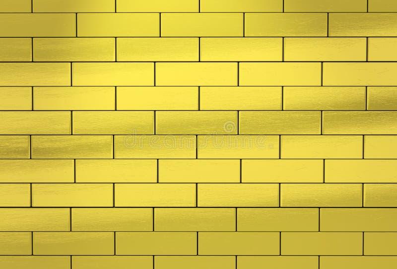 Parede feita de tijolos dourados abstraia o fundo ilustração do vetor