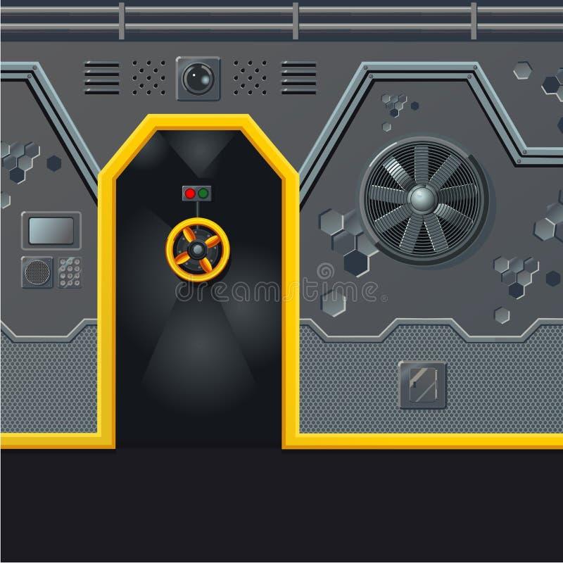 Parede futurista da nave espacial com porta Conceito nivelado do projeto de jogo Fundo da ficção científica Porta do abrigo, aylu ilustração stock