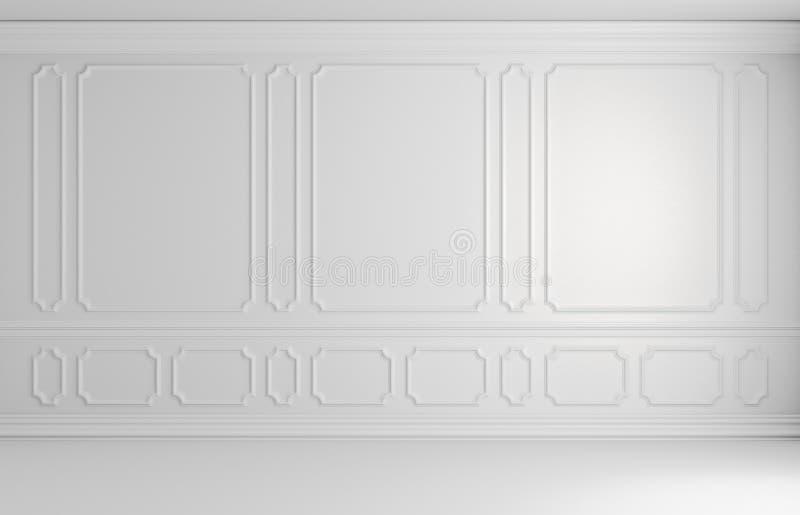 Parede incolor branca na sala vazia do estilo clássico arquitetónica ilustração do vetor