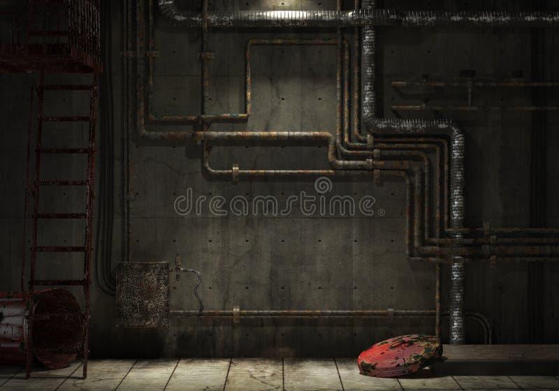 Parede industrial da tubulação de Grunge ilustração royalty free