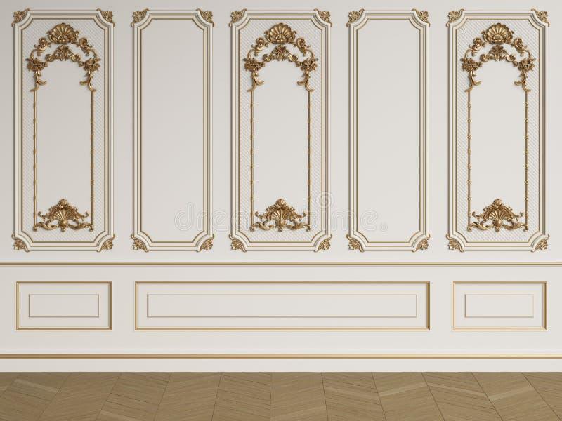 Parede interior clássica com moldes ilustração do vetor