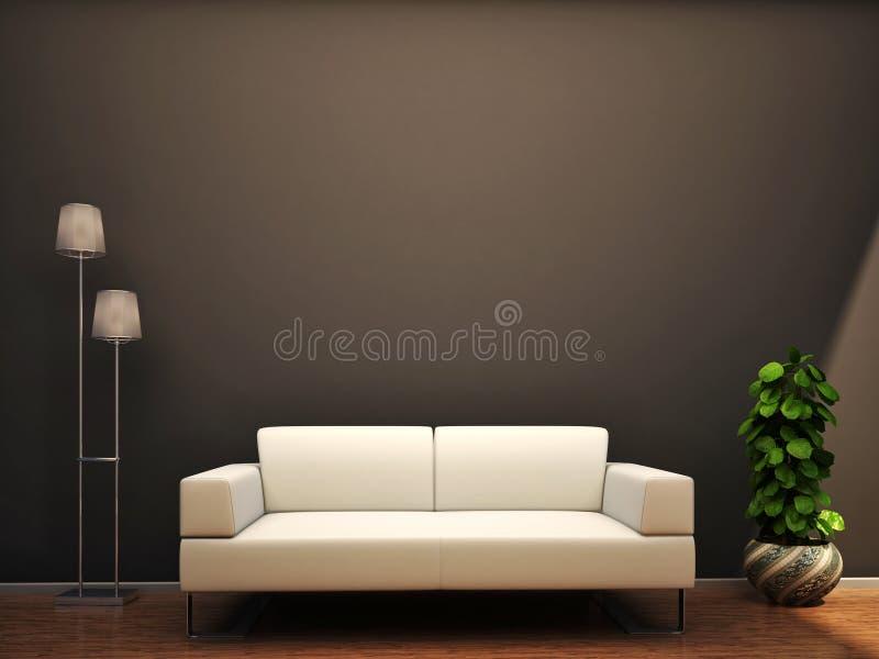 Parede interior da flor da lâmpada do sofá da cena ilustração royalty free