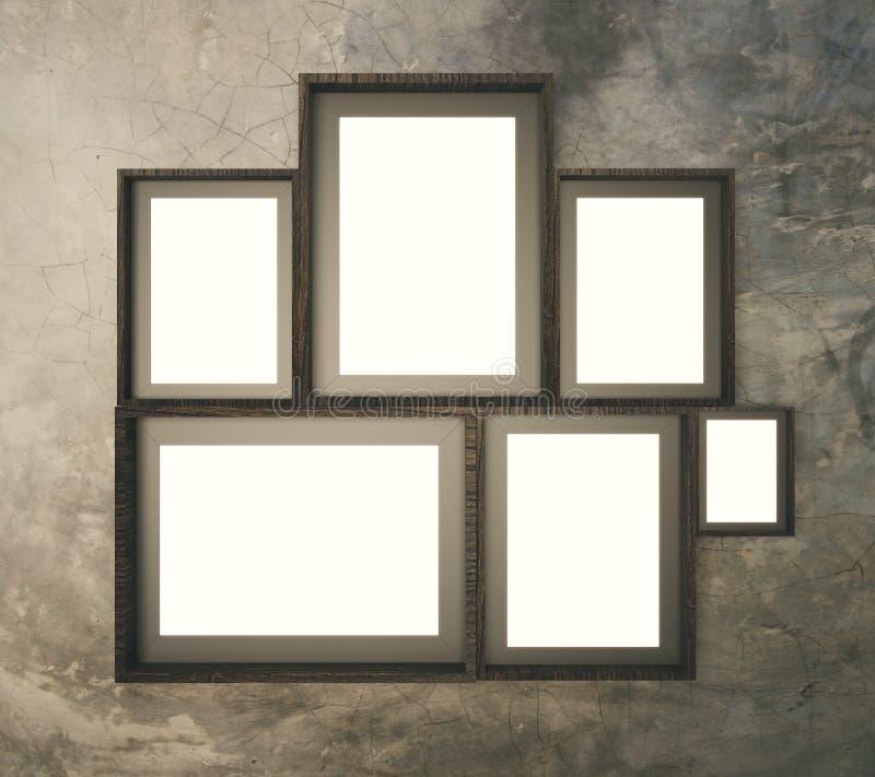 Parede larga do teste padrão de Brown com molduras para retrato vazias múltiplas, 3D ilustração do vetor