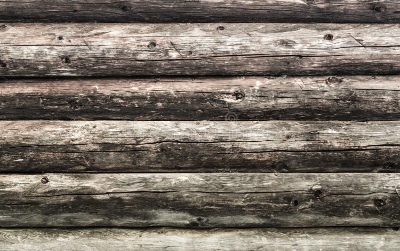 Parede marrom natural da madeira da cabana rústica de madeira Teste padrão do fundo da textura da parede imagem de stock royalty free