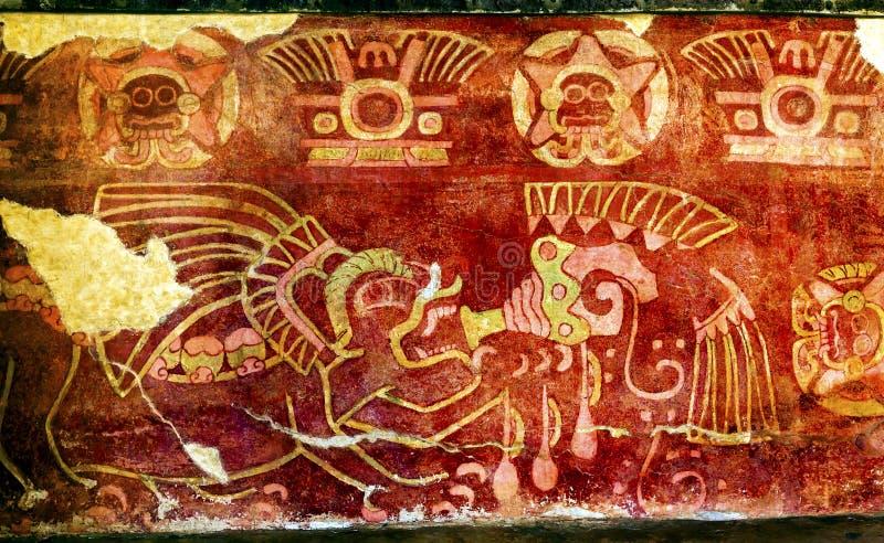 Parede mural bebendo Teotihuacan Cidade do México do Tequila da pintura antiga fotografia de stock