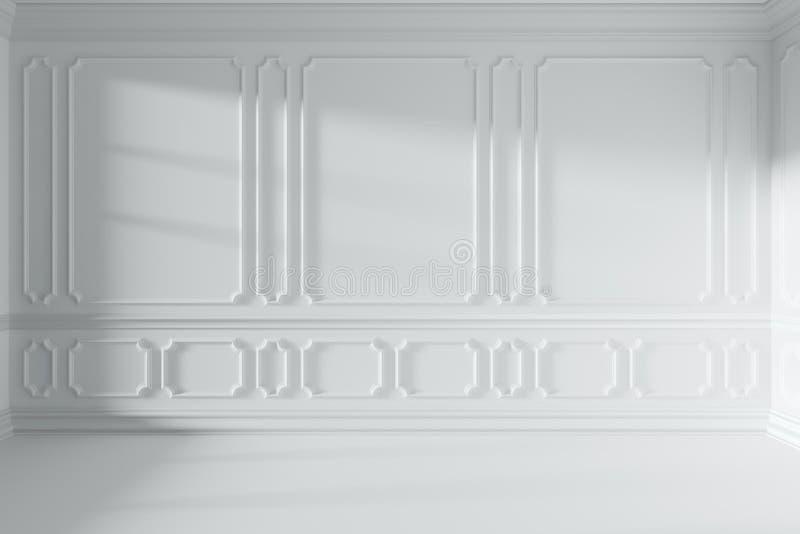 Parede na sala vazia branca com a decoração clássica do estilo ilustração do vetor