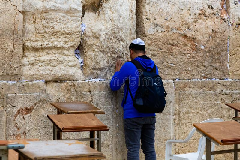 Parede ocidental do Jerusalém - parede lamentando foto de stock royalty free