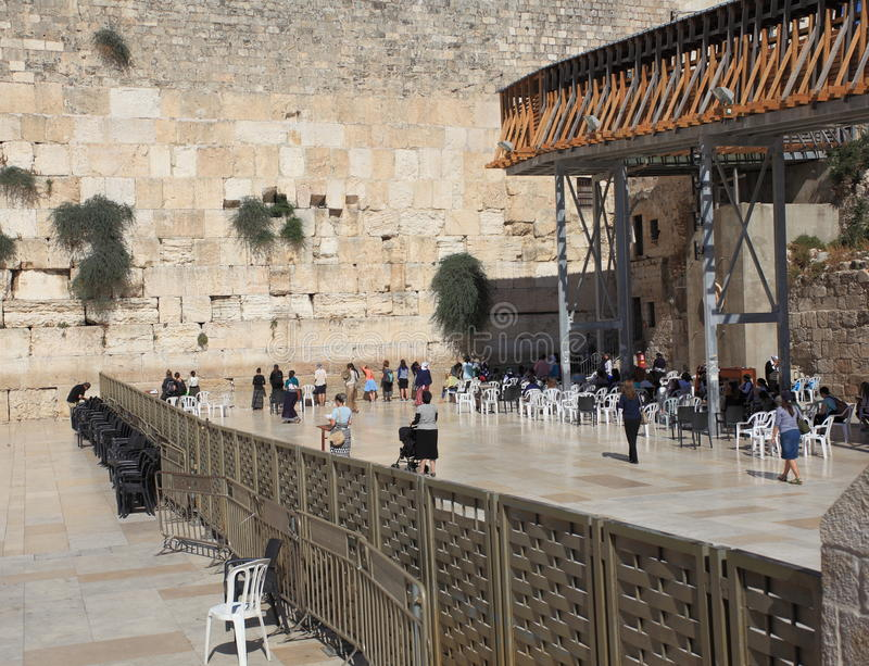 Parede ocidental, Jerusalém, a seção das mulheres foto de stock