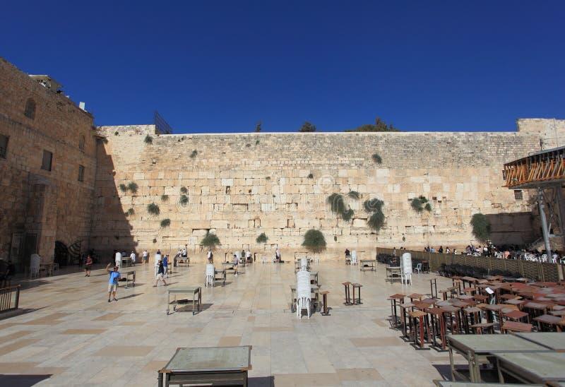 Parede ocidental no Jerusalém, a seção dos homens foto de stock