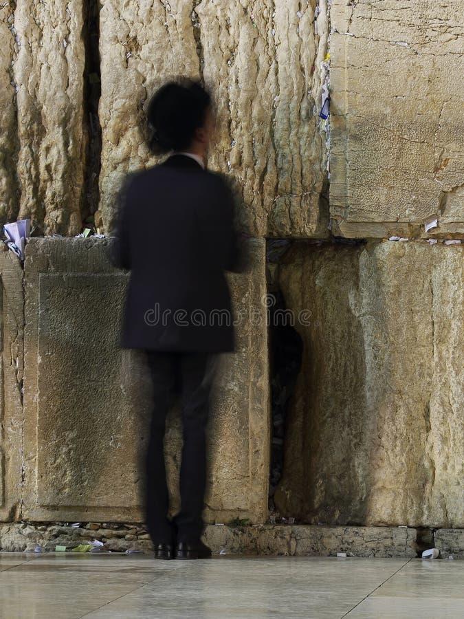 Parede ocidental que reza o ritual, Jerusalém, Israel imagem de stock