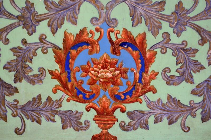 Parede pintada, ornamento orientais imagem de stock