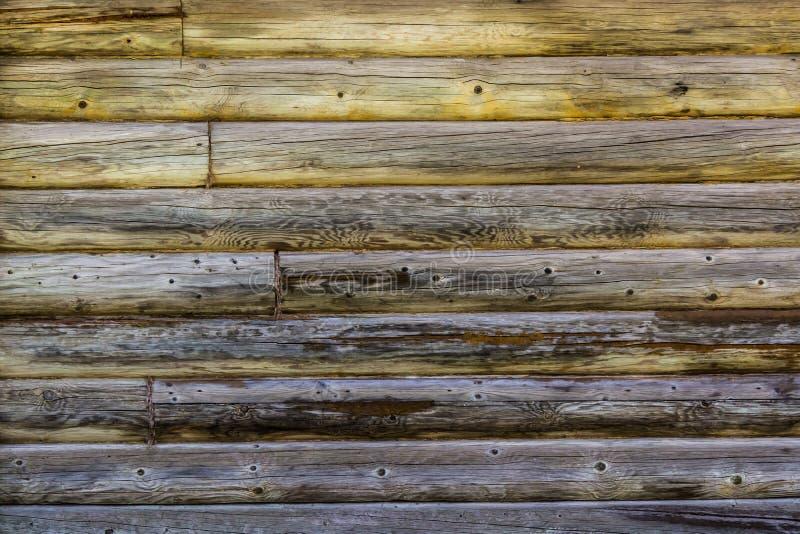 Parede preta velha dos logs cobertos com o musgo foto de stock