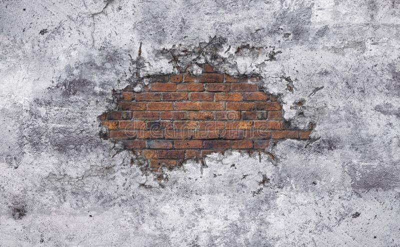 Parede quebrada concreta velha ilustração stock