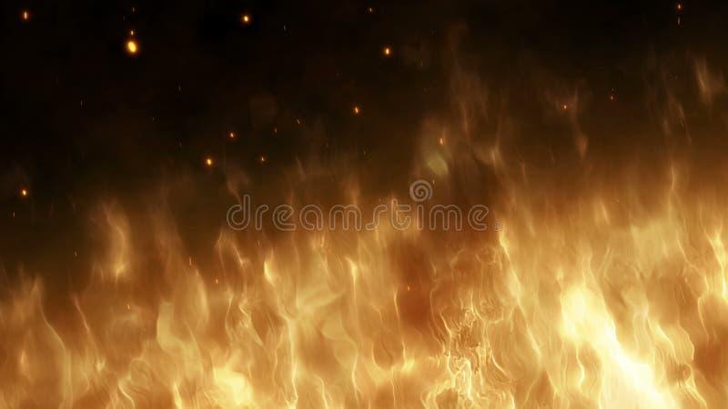 A parede realística do fogo com faíscas quentes aumenta no céu noturno Chama ardente em um fundo abstrato com uma luz imagem de stock