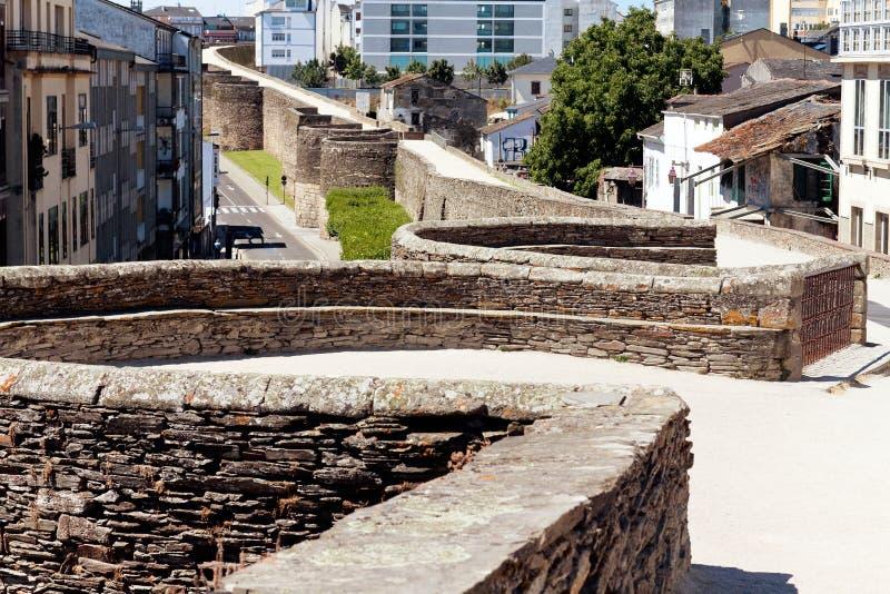 Parede romana de Lugo spain foto de stock