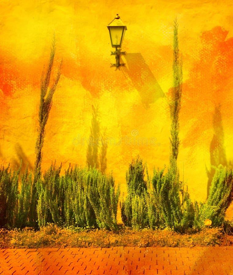 Parede Textured em um jardim ilustração do vetor