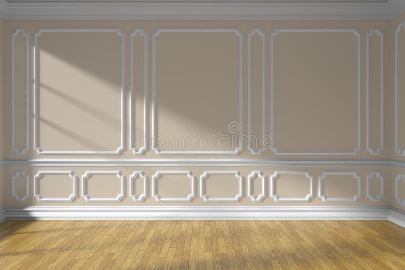 Parede vazia bege da sala com molde e parquet ilustração do vetor