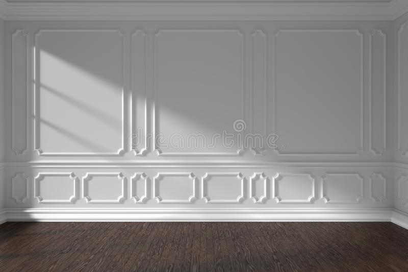 Parede vazia branca da sala com molde e o assoalho de parquet escuro ilustração stock