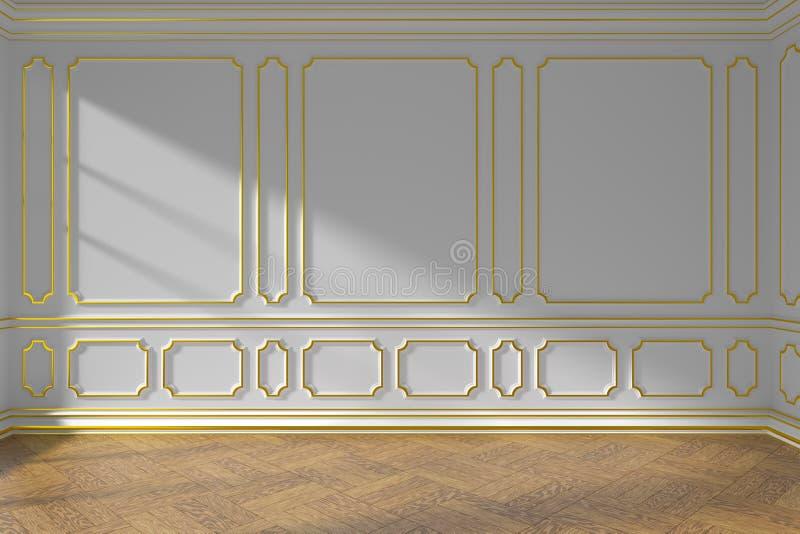 Parede vazia branca da sala com molde e parquet do ouro ilustração do vetor
