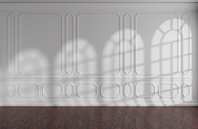 Parede vazia branca da sala com molde, o parquet escuro e windowsr arredondado ilustração royalty free