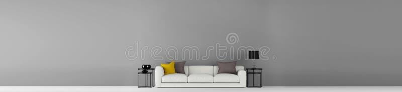 Parede vazia cinzenta larga de alta resolução com ilustração da mobília 3d imagens de stock