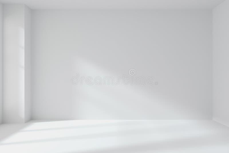 Parede vazia da sala branca com interior de canto ilustração do vetor