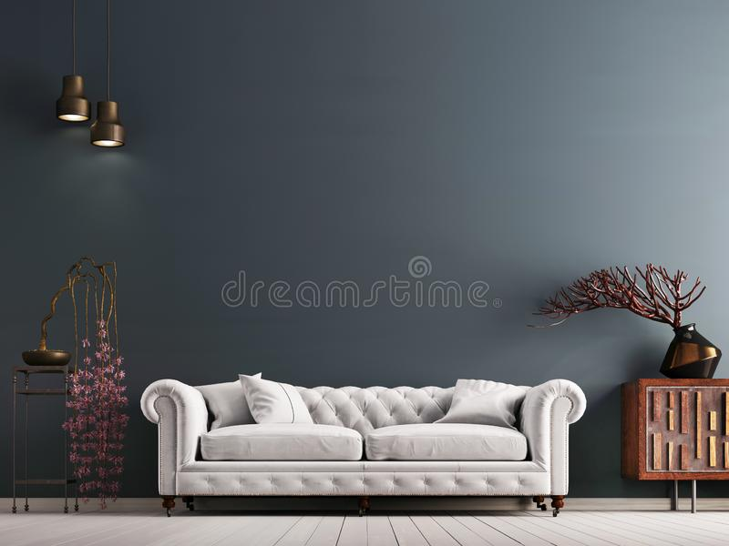 Parede vazia no interior clássico do estilo com o sofá branco na parede cinzenta do fundo ilustração do vetor