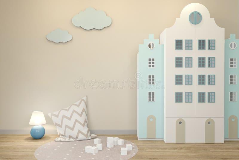Parede vazia no interior da sala de crianças no estilo escandinavo Incluiu uma luz da noite ilustração royalty free