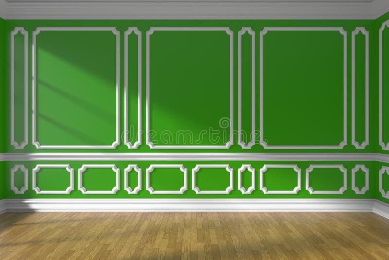 Parede vazia verde da sala com o assoalho do molde e de parquet ilustração royalty free