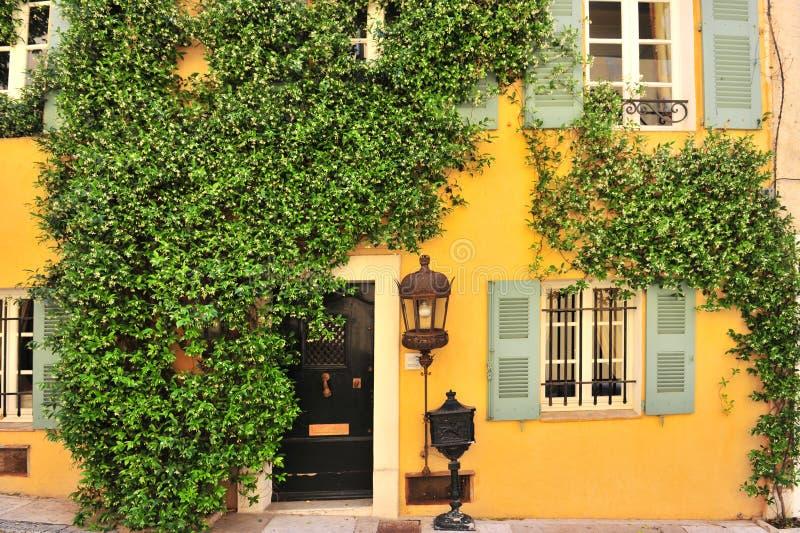 Parede velha da casa com porta, indicadores e plantas fotos de stock