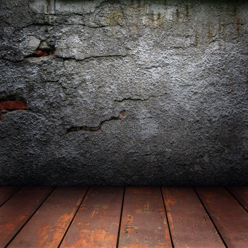 Parede velha e assoalho de madeira foto de stock