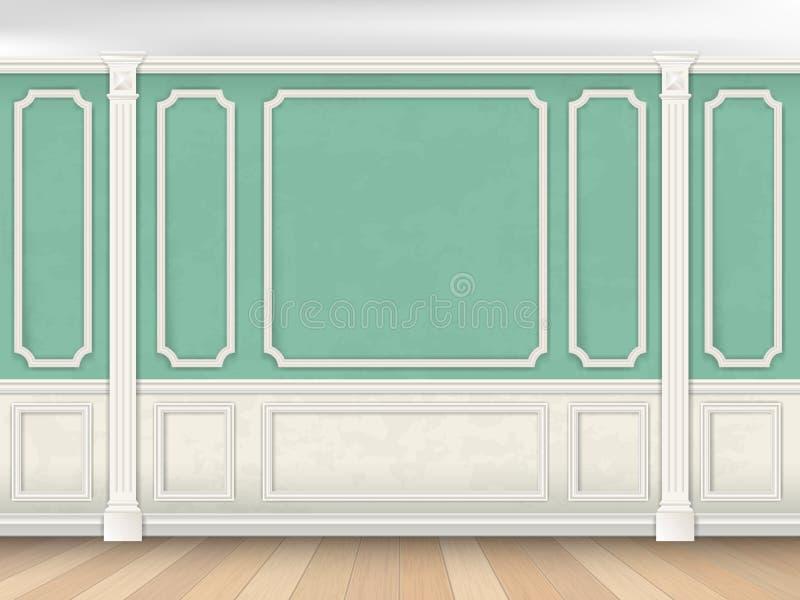 Parede verde com pilastras ilustração royalty free