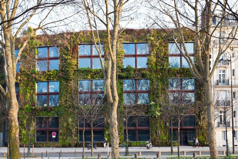 Parede verde do museu de Quai Branly em Paris imagens de stock royalty free