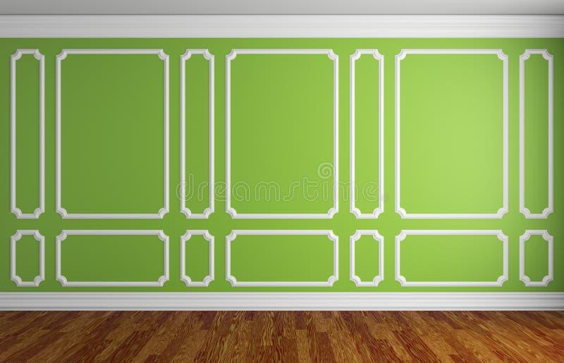 Parede verde na sala clássica do estilo ilustração do vetor