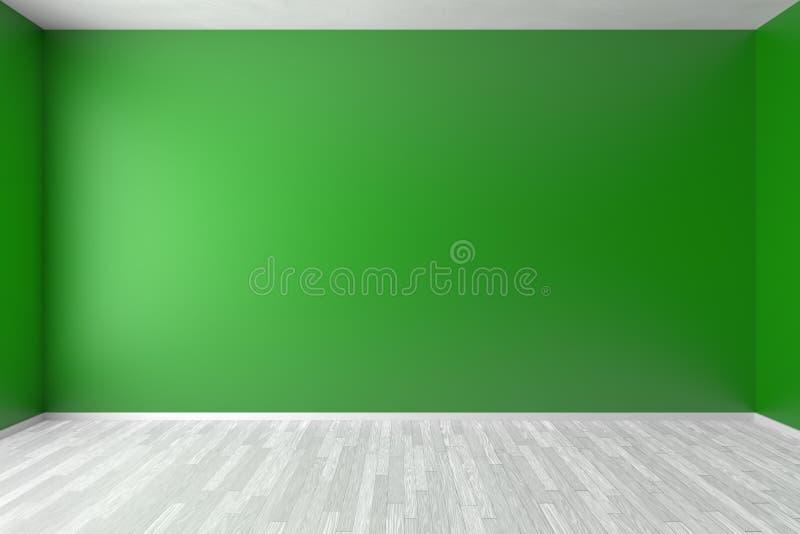 Parede verde vazia da sala com assoalho branco ilustração do vetor