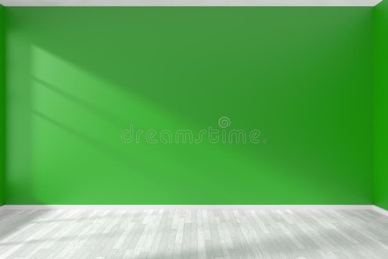 Parede verde vazia da sala e assoalho branco ilustração do vetor