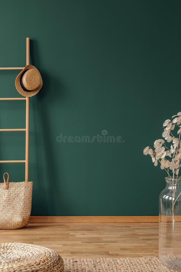 Parede verde vazia no interior natural elegante com escada de madeira e no vaso de vidro com flor imagem de stock royalty free