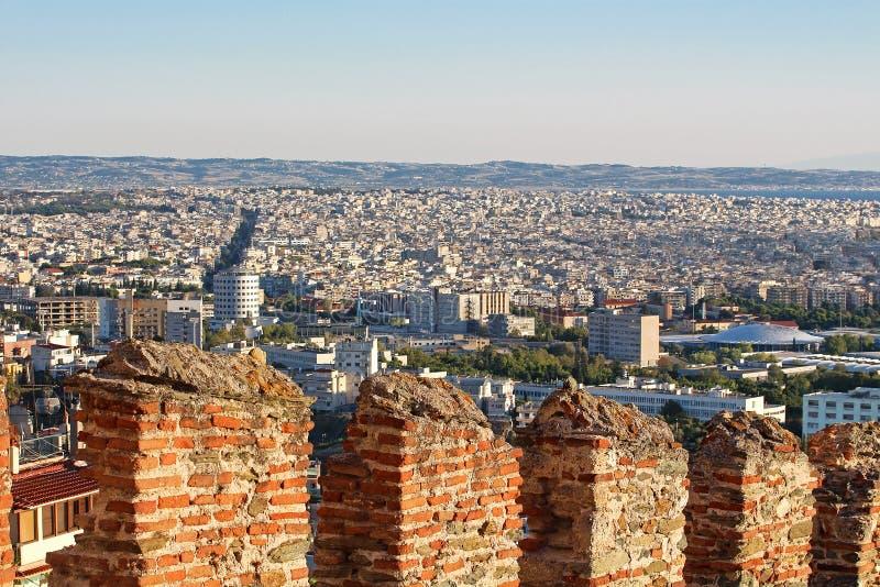 Paredes bizantinas velhas em Tessalónica, Greecу fotos de stock