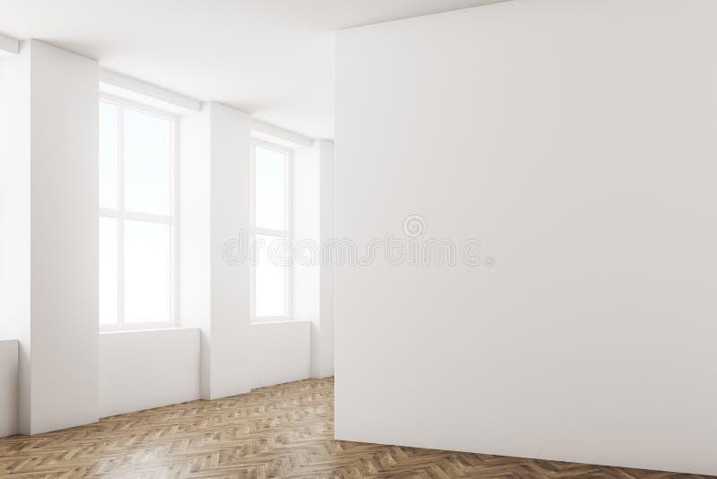 Paredes blancas de la esquina vacía del sitio, piso de madera stock de ilustración