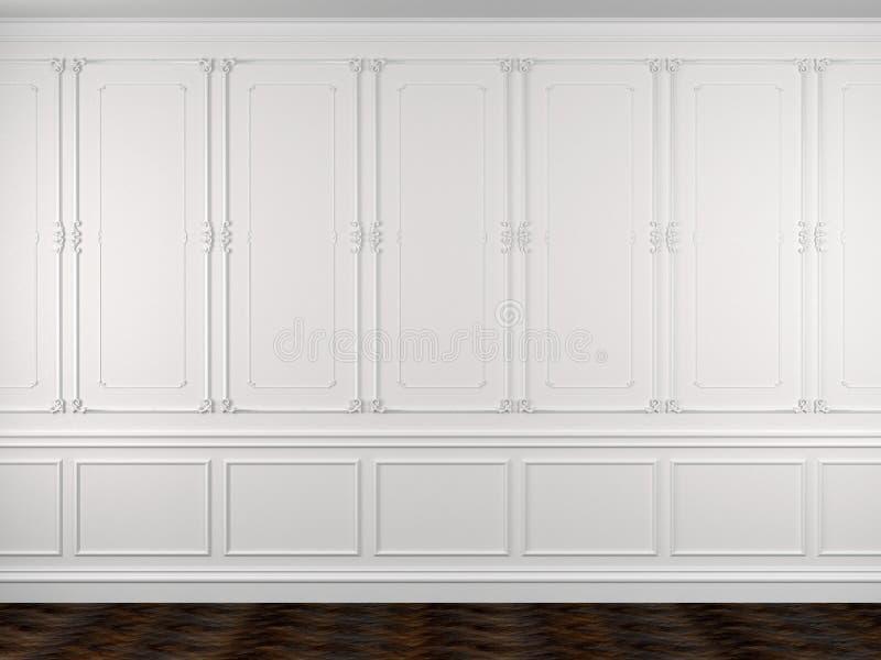 Paredes brancas decoradas e um assoalho escuro fotografia de stock royalty free