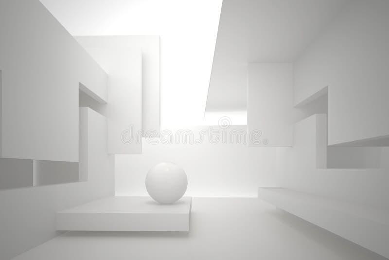 Paredes com furos retangulares, teto multinível, esfera branca no assoalho ilustração stock