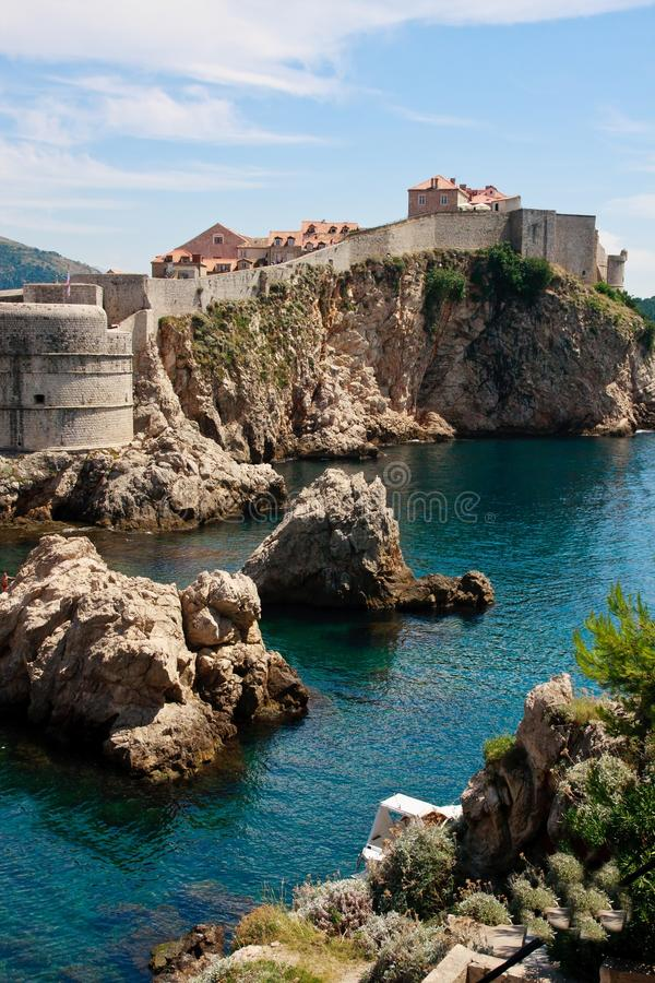 Paredes da cidade de Dubrovnik fotografia de stock
