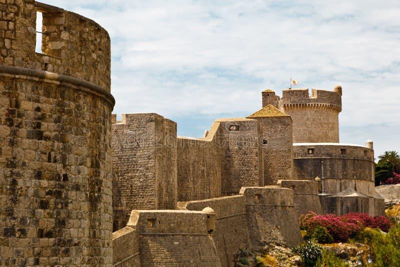 Paredes da cidade de Dubrovnik fotos de stock