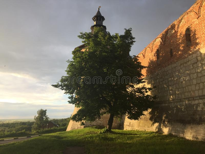 Paredes da fortaleza do Kremlin em Zaraysk Rússia fotografia de stock royalty free