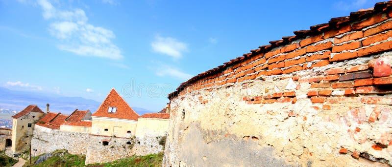 Paredes da fortaleza, Rasnov-Romania fotos de stock