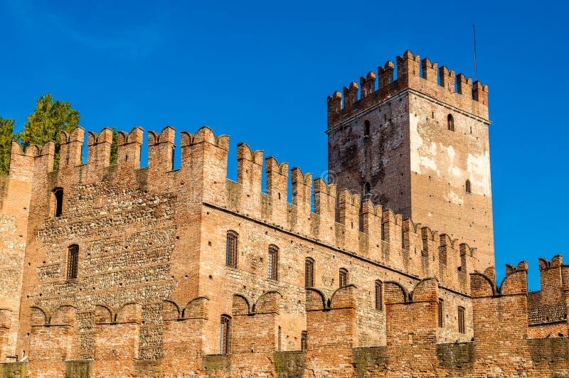 Paredes de la fortaleza de Castelvecchio en Verona fotos de archivo libres de regalías
