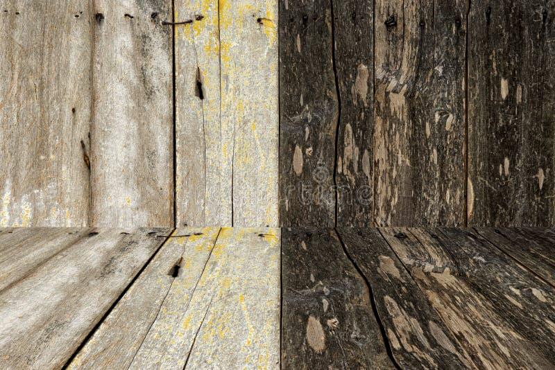 Paredes de madeira e textura e fundo do assoalho fotografia de stock