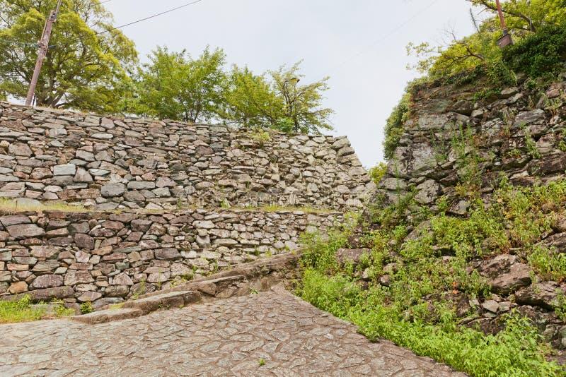 Paredes de pedra do castelo de Wakayama, Japão foto de stock