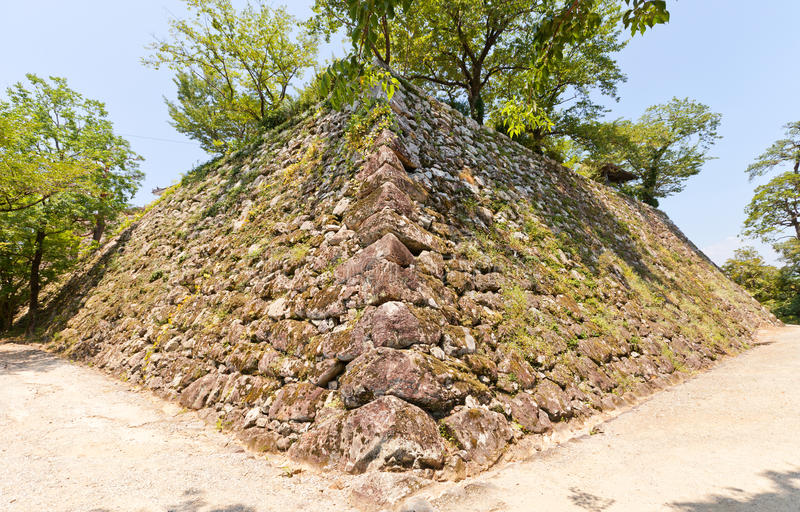 Paredes de pedra (ishigaki) do castelo de Kochi, cidade de Kochi, Japão imagem de stock