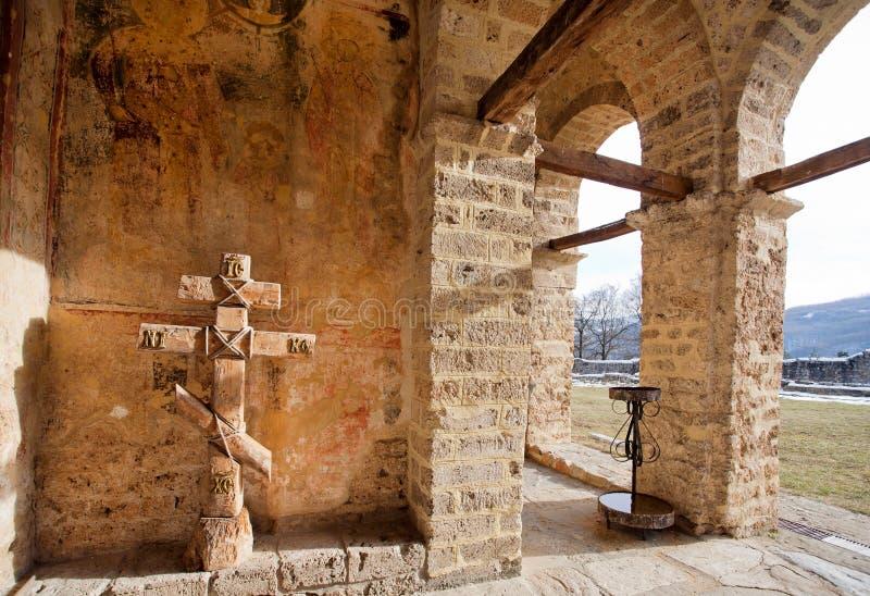 Paredes de pedra velhas do monastério imagens de stock